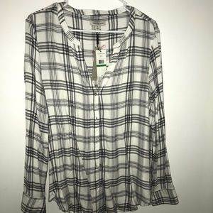 Calvin Klein plaid blouse never worn!